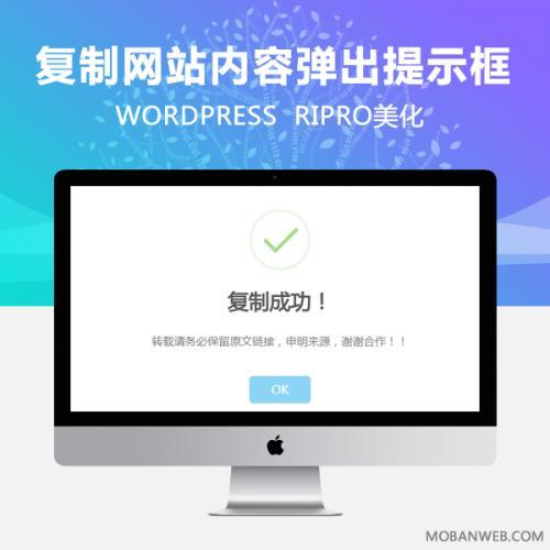 RIPRO主题美化-网站实现复制内容弹出提示框 WordPress美化